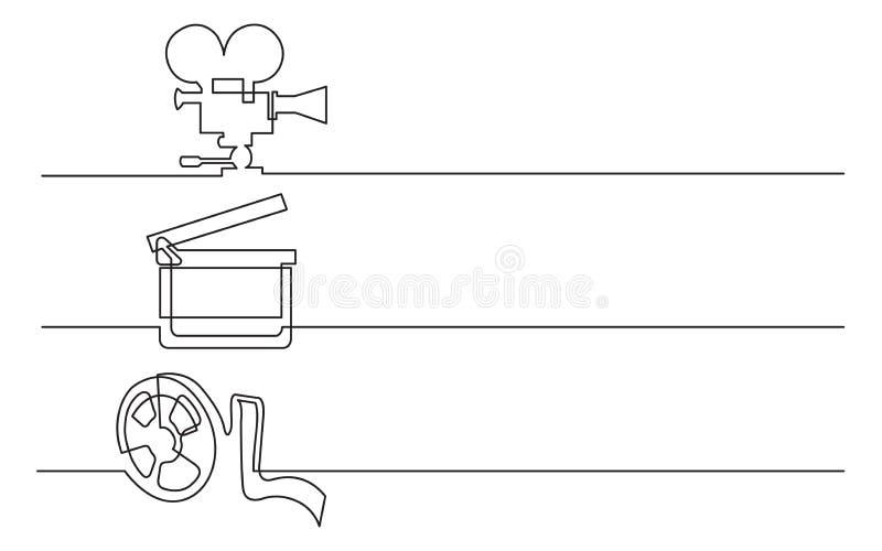 横幅设计-实线企业象图画:电影摄影机,拍手板,影片磁带 向量例证