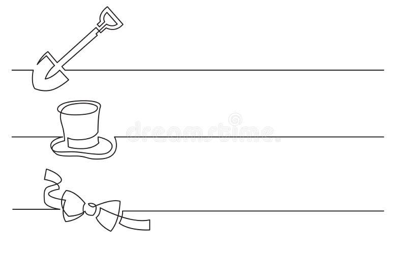 横幅设计-实线企业象图画:铁锹,高顶丝质礼帽,蝶形领结 库存例证