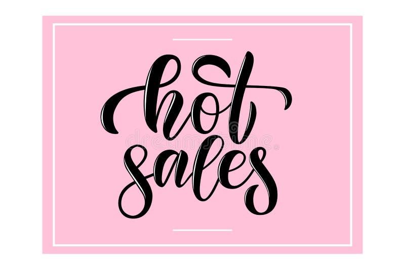 横幅象妇女衣裳化妆用品的卡片促进的传染媒介书法词组热的销售购物 库存照片