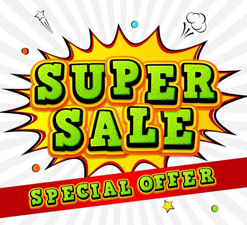 横幅超级销售,折扣 流行艺术样式,漫画书 皇族释放例证