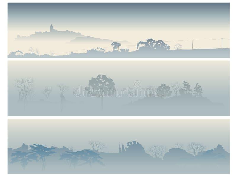 横幅雾早晨结构树谷 皇族释放例证