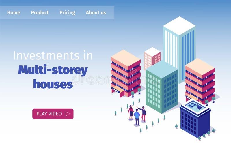 横幅题字等量不动产的房地产经纪商 向量例证