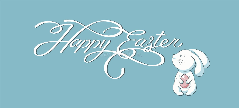 横幅题字,手字法,书法,印刷术愉快的复活节兔子蓝色背景 库存例证