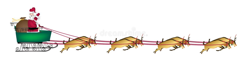 横幅驯鹿圣诞老人 向量例证