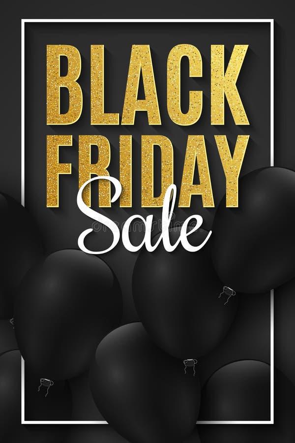 横幅黑色星期五销售额 在黑暗的背景的现实黑气球 大贴现 对您的企业项目 金黄闪烁 向量例证
