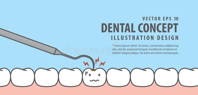 横幅龋牙和牙核对在蓝色的例证传染媒介 向量例证