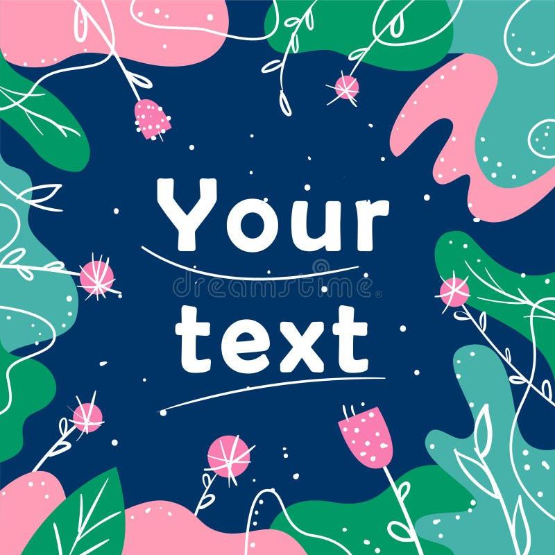 横幅,海报,促进,网站,网络购物,广告,邀请的框架 设计与桃红色花的传染媒介明信片 库存例证
