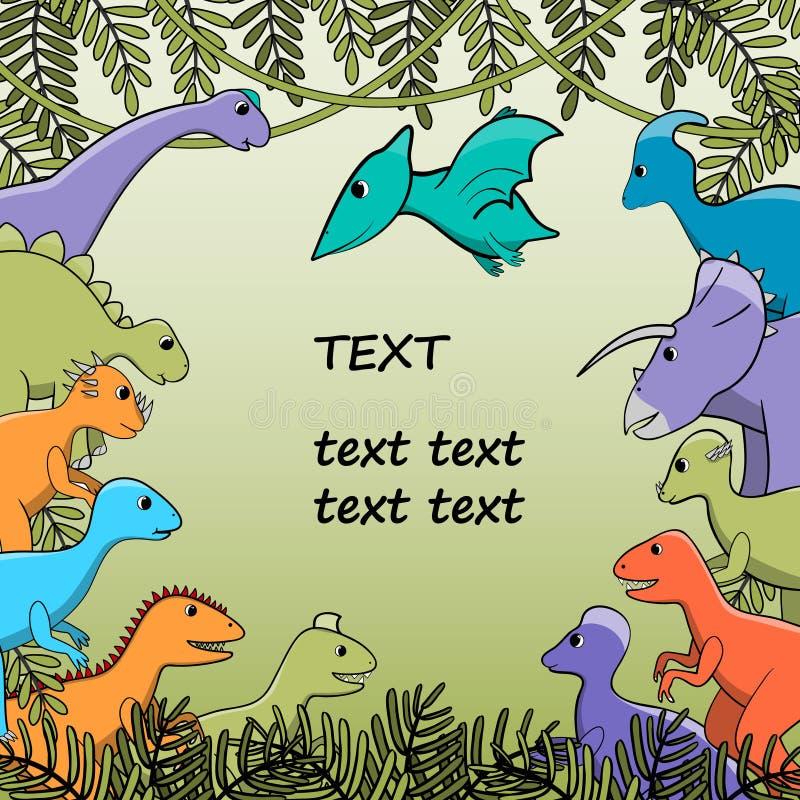 横幅,背景,与风格化恐龙的海报 向量例证