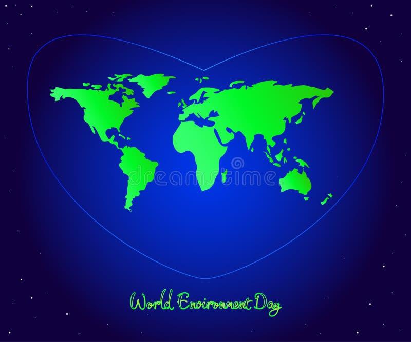 横幅蝴蝶庆祝的逗人喜爱的日环境开花瓢虫映射世界 与pl的绿色大陆的蓝色心脏 向量例证
