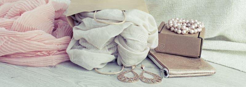 横幅A套妇女` s时装配件购物的首饰围巾 库存图片