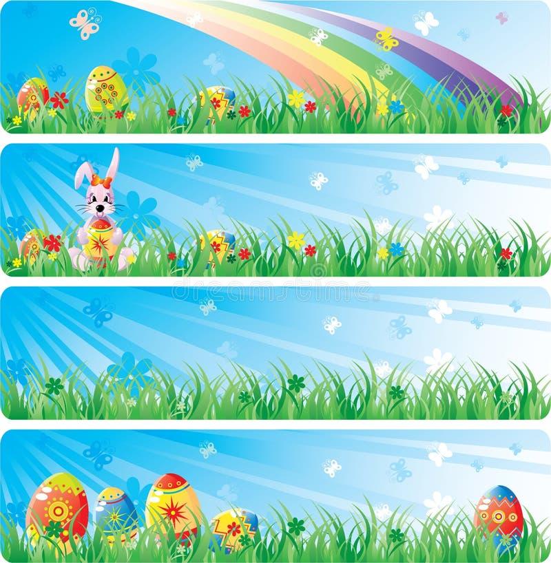 横幅colorfol复活节集 向量例证