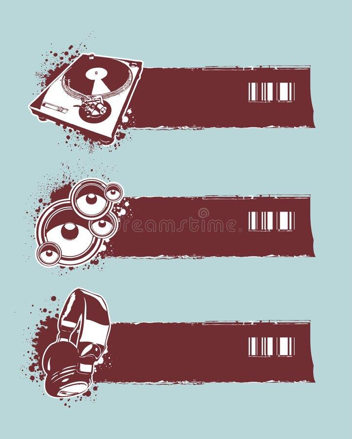 横幅grunge音乐会集 向量例证