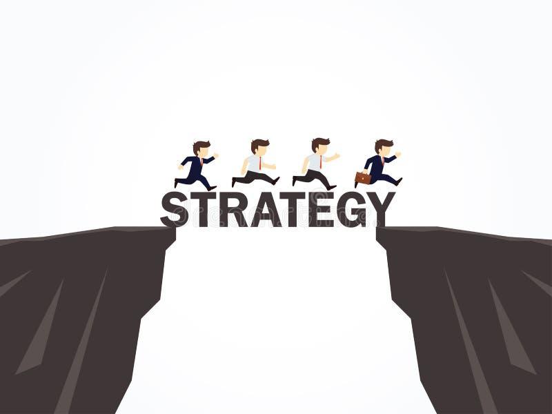 横渡在战略桥梁的商人 向量例证