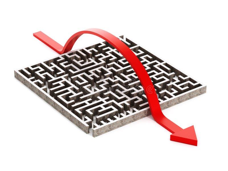 横渡在迷宫的红色箭头 向量例证