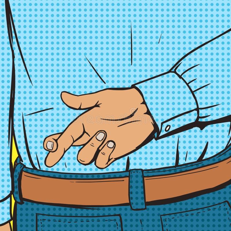 横渡的手指姿态流行艺术样式传染媒介 库存例证