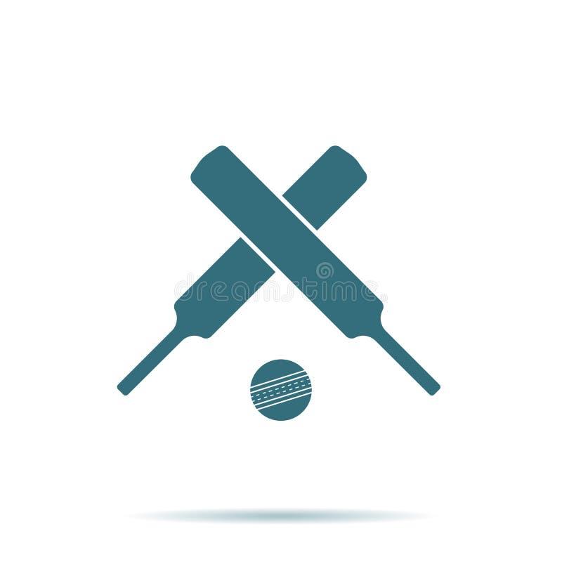 横渡的板球拍,在背景隔绝的球象 现代简单的平的标志 事务,互联网 库存例证