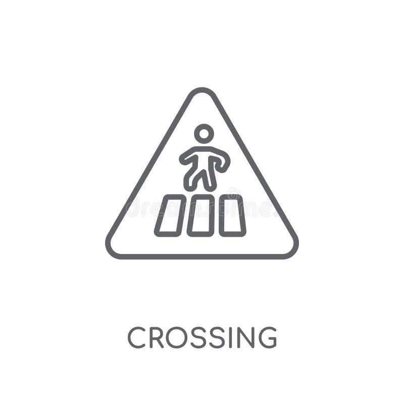 横渡的标志线性象 现代概述横穿标志商标骗局 向量例证