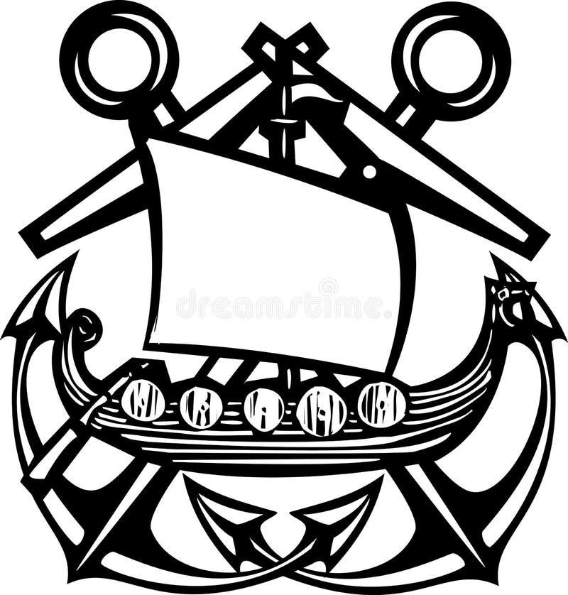 横渡的船锚北欧海盗 皇族释放例证