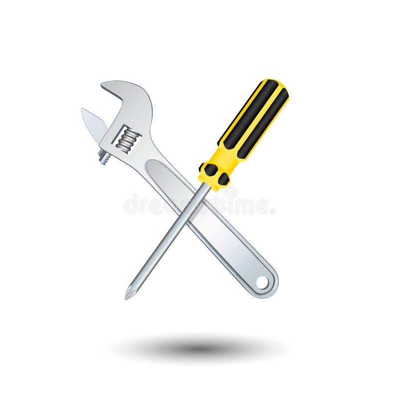 横渡的螺丝刀和板钳 查出在白色 传染媒介Illust 库存例证