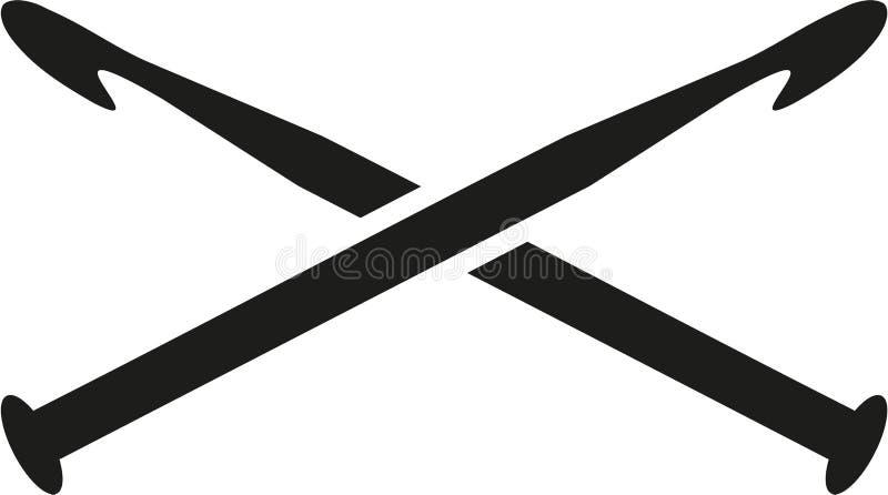 横渡的钩针编织针 向量例证