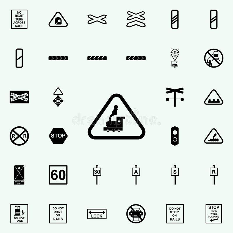 横渡的铁路线象 铁路网和机动性的警告象全集 库存例证