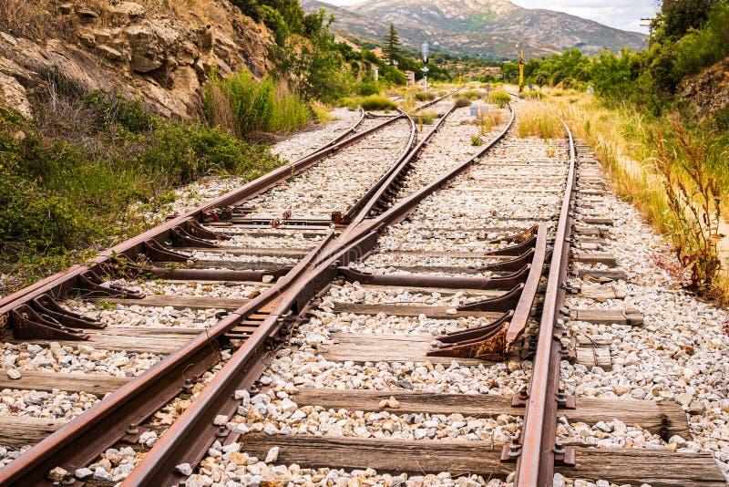 横渡的铁轨 免版税图库摄影