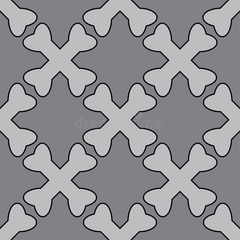 横渡的骨头海盗无缝的样式灰色颜色 向量例证