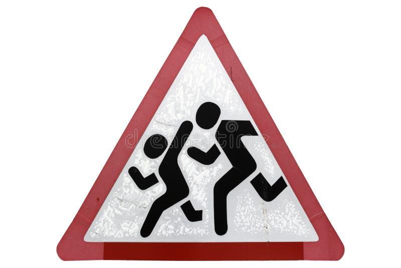 横渡` `过路学生护送` isolat的老湿路标`孩子 库存例证