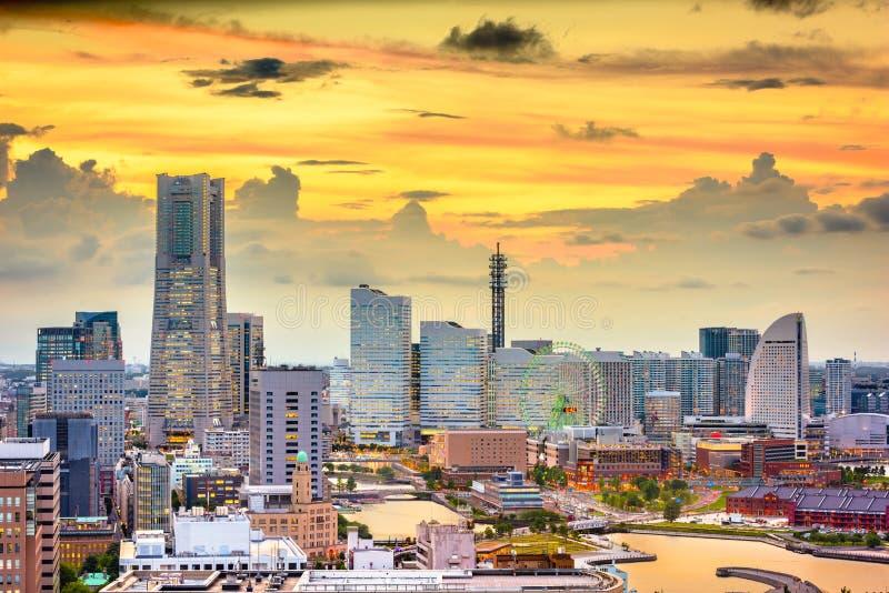 横滨,日本港口和街市地平线 免版税库存照片
