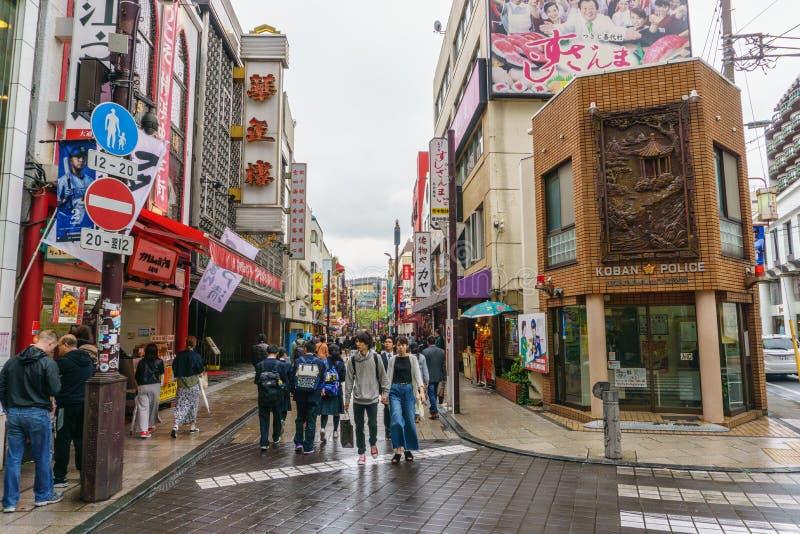 横滨,日本- April18, 2018年:横滨` s唐人街区 免版税库存照片
