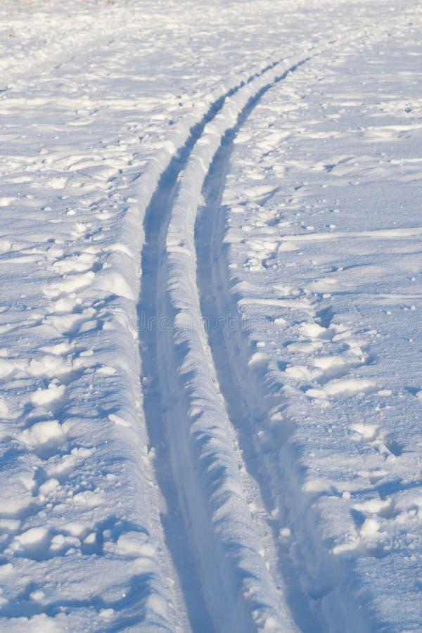 横穿全国的滑雪轨道 免版税库存照片