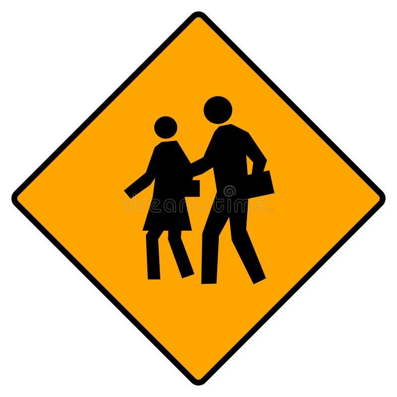 横穿学校符号 皇族释放例证