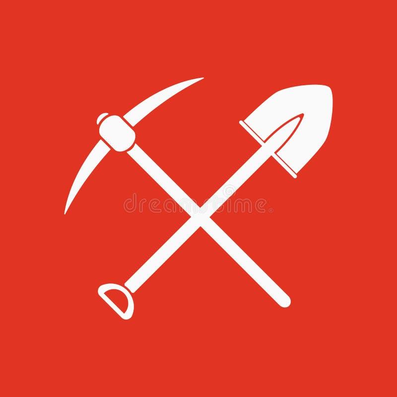 横穿锹镐象 镐和挖掘,开掘,开采的标志 平面 库存例证
