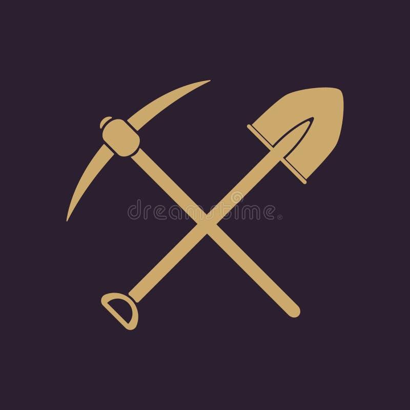 横穿锹镐象 镐和挖掘,开掘,开采的标志 平面 皇族释放例证