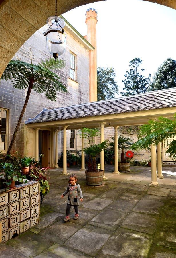 横谷房子,活博物馆内部庭院在悉尼,澳大利亚 免版税库存图片