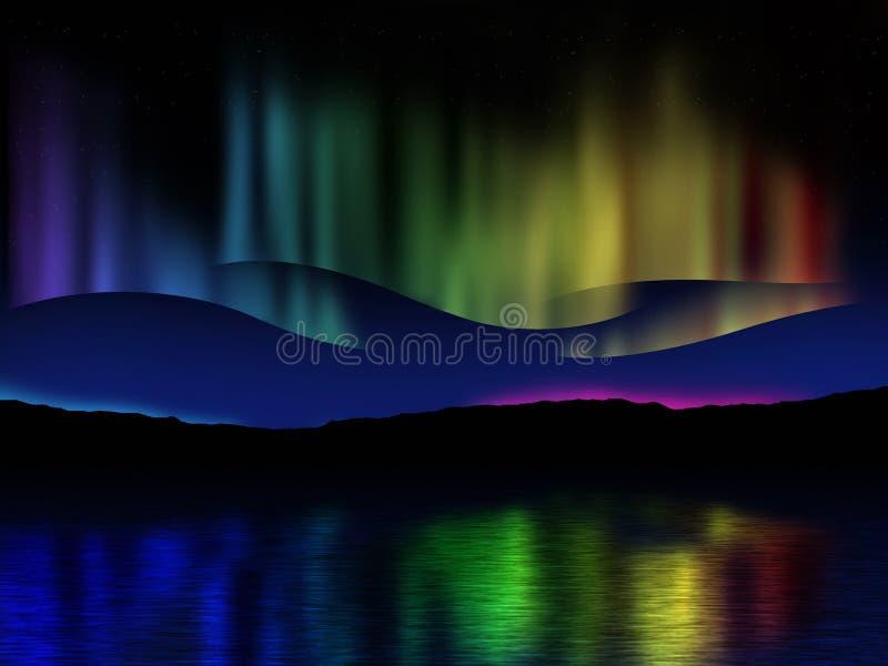 横跨一个湖的北极光(极光borealis)反射集成电路的 向量例证