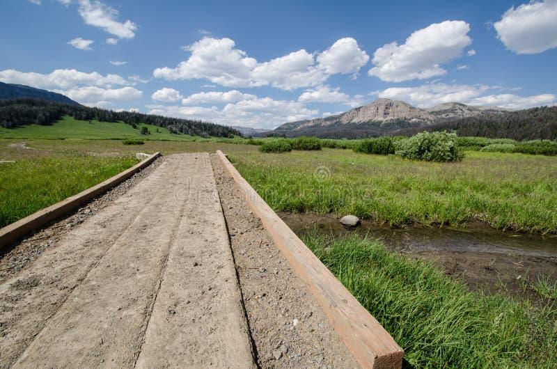 横跨一条小小河的人行道平台在Brooks湖怀俄明美国 免版税库存照片