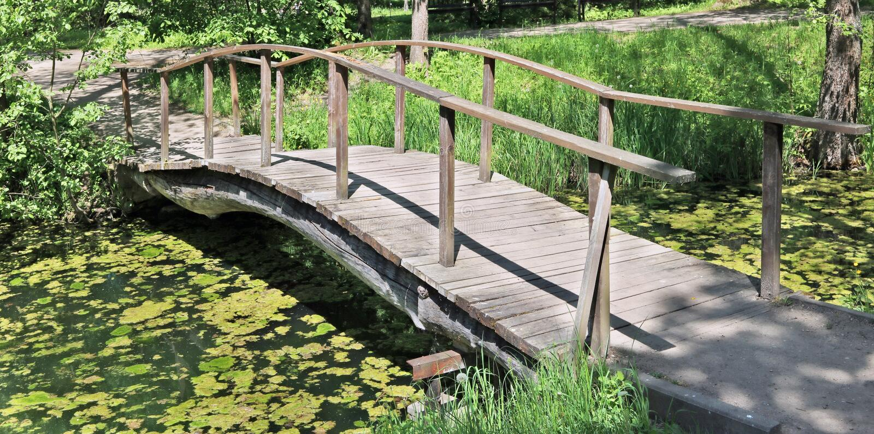 横跨一条藻粪小河的一座木自制被成拱形的桥梁 库存照片