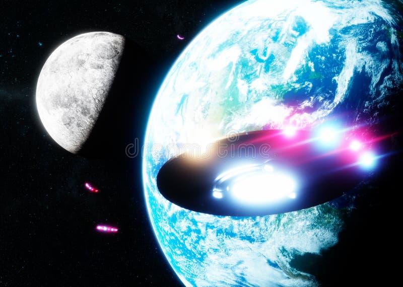 横跨地球和月亮的飞碟飞行 皇族释放例证