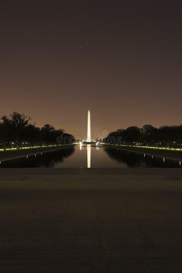 横跨林肯纪念堂反射水池的看法往在夜间的华盛顿纪念碑,全国购物中心,华盛顿特区 免版税库存图片