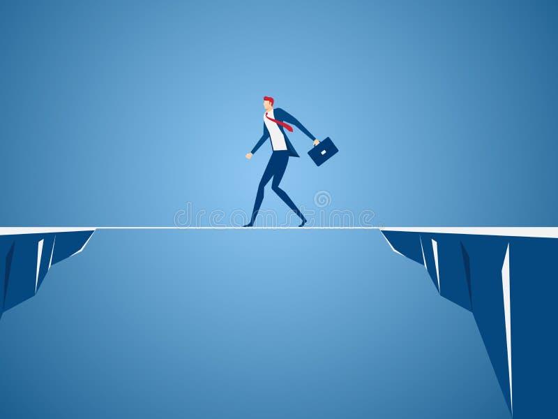 横跨空白的商人走的绳索小山之间 走在峭壁 经营风险和成功概念 向量例证