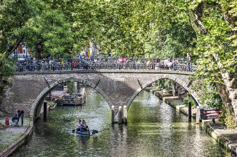 横跨老运河的桥梁 图库摄影