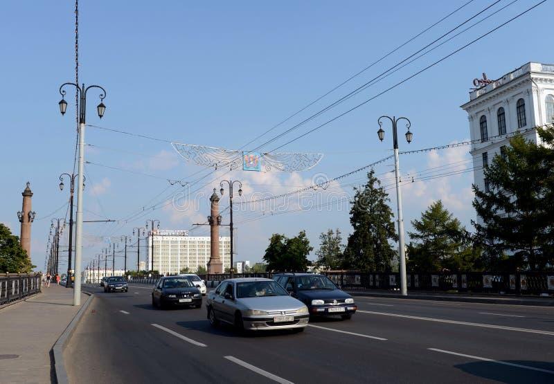 横跨西Dvina的基洛夫桥梁在维帖布斯克 库存照片