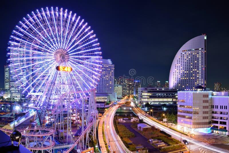横滨,日本在晚上。 免版税库存照片