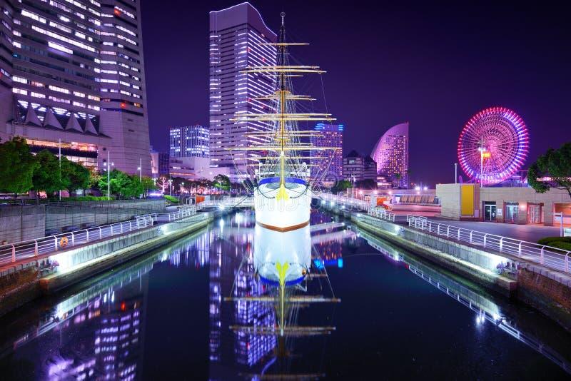 横滨,日本在晚上。 免版税库存图片