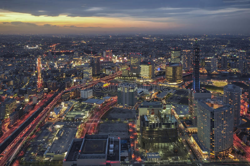 横滨,日本市地平线 免版税库存图片