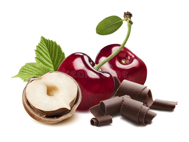 樱桃、被隔绝的榛子一半和巧克力削片 图库摄影