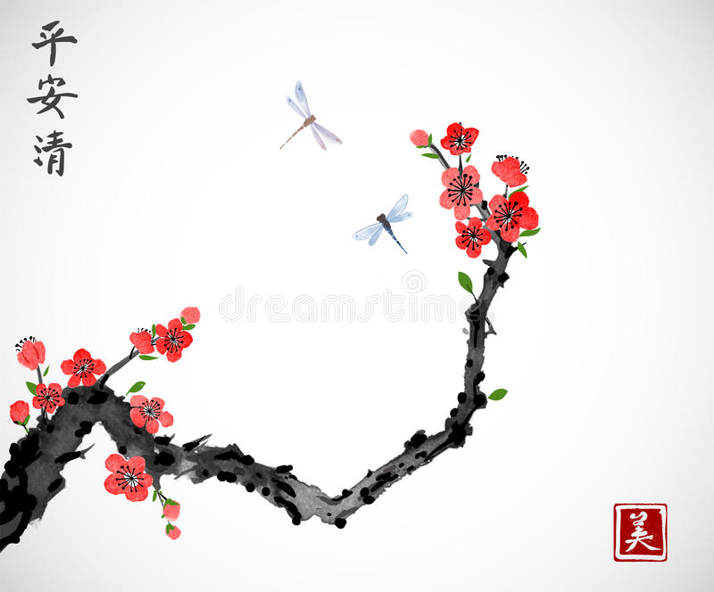 樱桃佐仓在开花和两只蜻蜓的树枝在白色背景 传统东方墨水绘画sumi-e 向量例证
