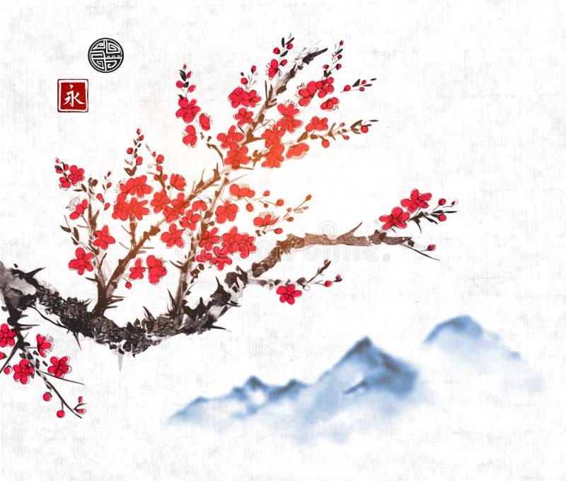 樱桃佐仓在开花和远的蓝色山的树枝在宣纸背景 库存例证