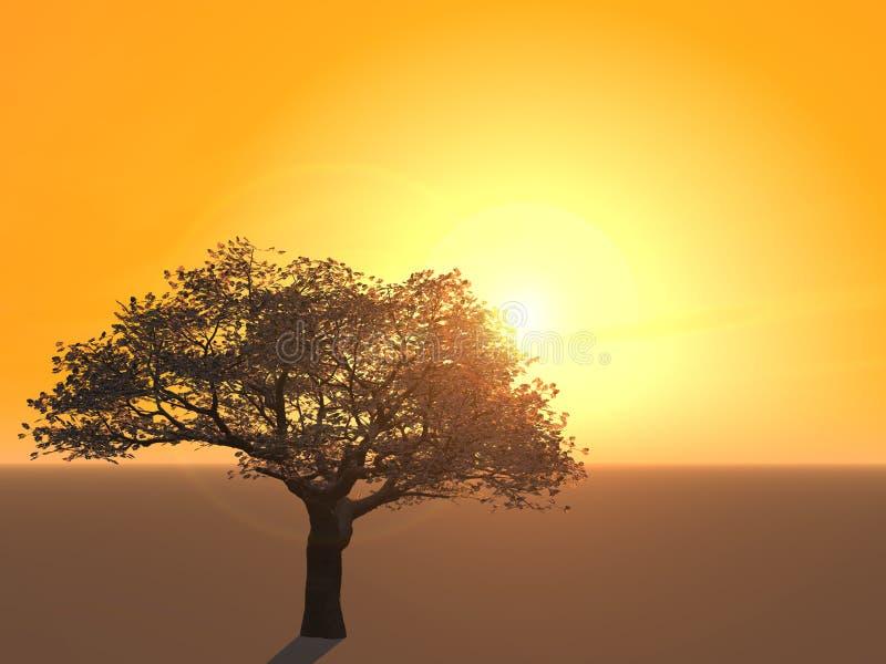 樱桃剪影结构树 库存例证